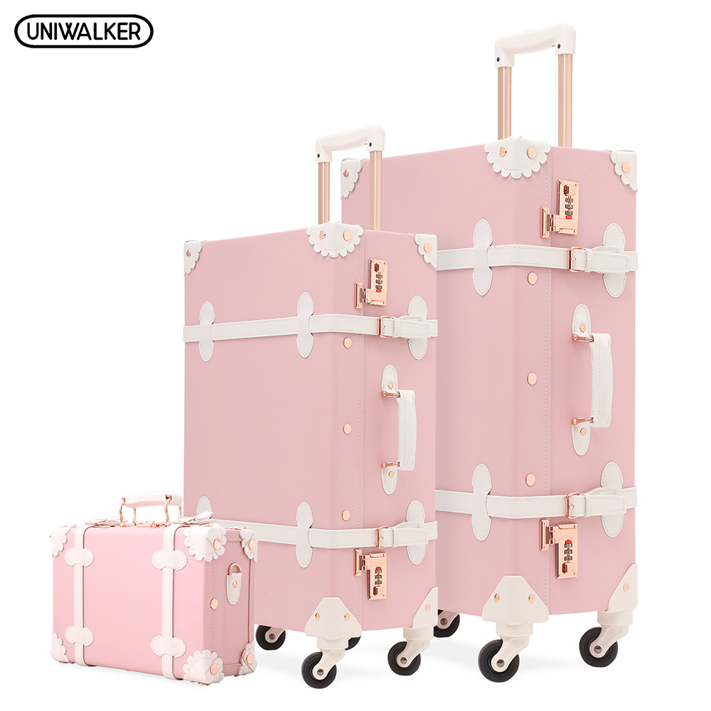 3PCS/Set UNIWALKER Citron Pink Women Retro Rolling Luggage Vintage Travel Siutcases Carry on Trolley Baggage with Spinner Wheels3PCS/Set UNIWALKER Citron Pink Women Retro Rolling Luggage Vintage Travel Siutcases Carry on Trolley Baggage with Spinner Wheels