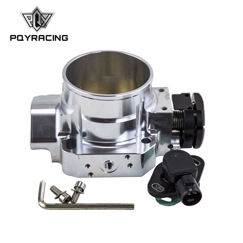 PQY - SILVER 70MM THROTTLE BODY +TPS THROTTLE BODY POSITION SENSOR For 90-01 ACURA INTEGRA DA DB DC2 B16 B18C deawoo excavator throttle sensor dh stepper motor throttle position sensor excavator spare parts