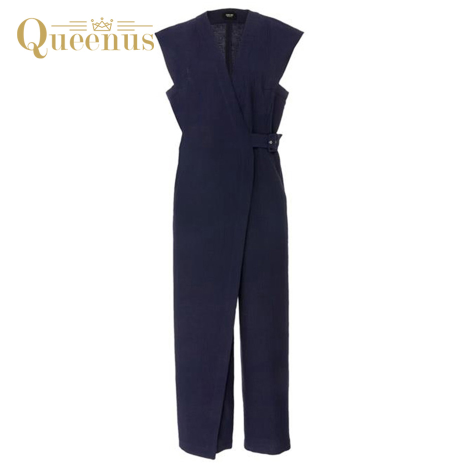 Queenus 2017 Summer Women Jumpsuits Deep V Neck Straight Elegant Business Jumpsuits Sleeveless Dark Blue Belted Women Rompers