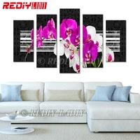 Diamond Painting Triptych Orchid Flowers Diamond Embroidery Multi Pictures Rhinestones Cross Stitch Modular Wall Arts Home Decor
