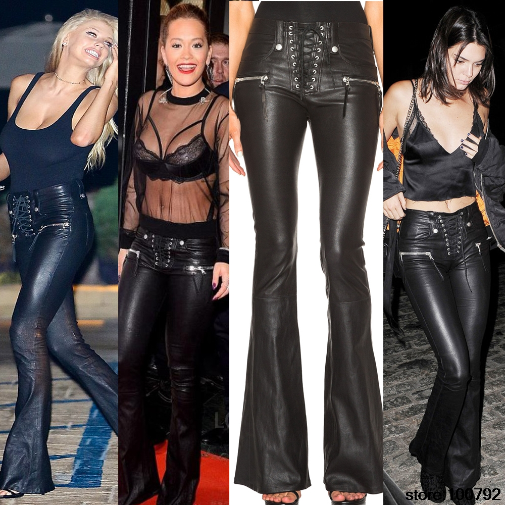 2017 New Celebrity Punk Lace Up Faux Leather Flare Pant Clothing font b Women b font