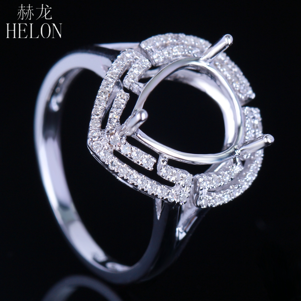 HELON Pear Cut 11x9-11x10mm Solid 14k Whie Gold Semi mount Wedding Halo Natual Diamonds Engagement Womens Trendy Jewelry RingHELON Pear Cut 11x9-11x10mm Solid 14k Whie Gold Semi mount Wedding Halo Natual Diamonds Engagement Womens Trendy Jewelry Ring