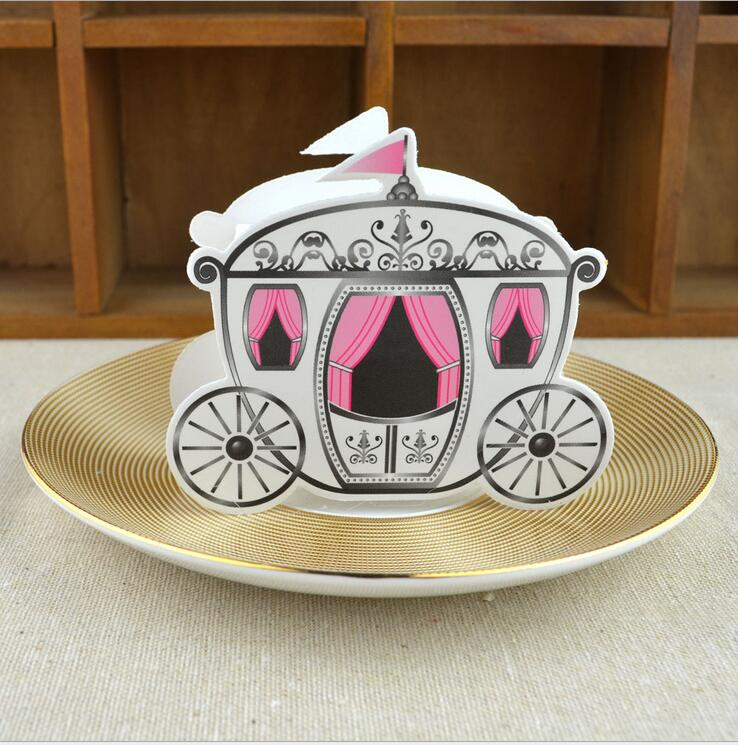 50pcs/lot Romantic Fairy tale Favors Gifts Baby Shower Wedding Candy Box Cinderella Pumpkin Carriage wedding decoration
