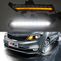 Car styling For KIA RIO K2 2015 2016 LED DRL Daytime Running Lights Daylight Fog light waterproof with turn Signals