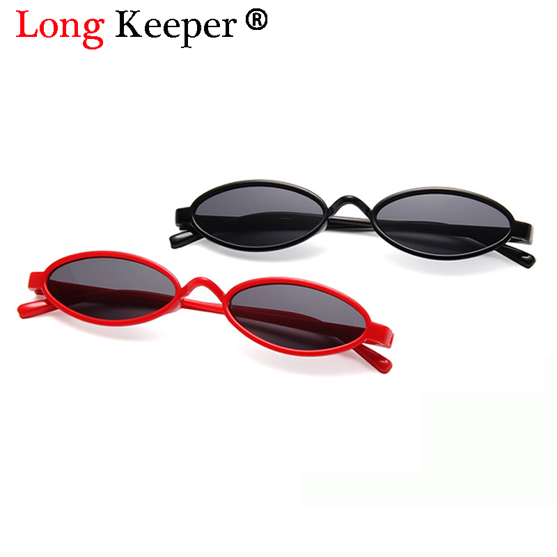 643c1b5649 Long Keeper 2018 Small Oval Sunglasses Women Retro Black Red Yellow Pink  Lens Vintage Sun Glasses