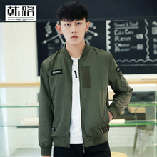 2016 New Arrival Mans Armygreen Stand Collar Zipper Jacket Slim And Causual Fashion Pilot Overcoat With