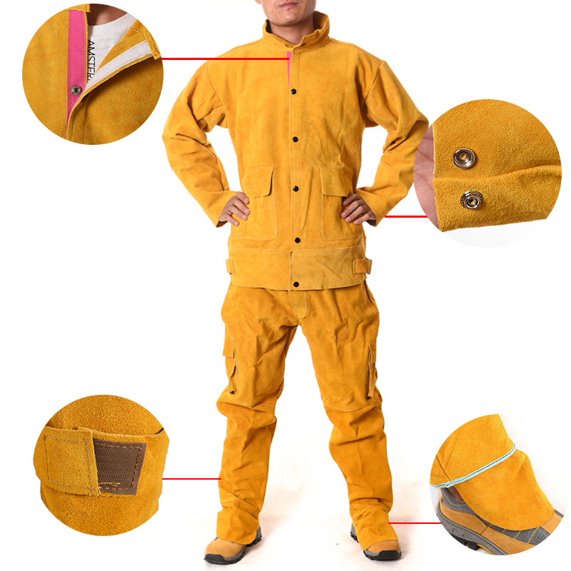 Cowhide Electric Welding Work Clothes Special Protective Clothing Anti Scalding Leather Safety Protective Clothing for Work WeaCowhide Electric Welding Work Clothes Special Protective Clothing Anti Scalding Leather Safety Protective Clothing for Work Wea