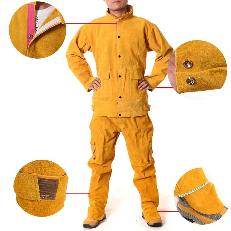Ernstig Koeienhuid Elektrische Lassen Werkkleding Speciale Beschermende Kleding Anti Brandwonden Lederen Veiligheid Beschermende Kleding Voor Werk Wea Levendig En Geweldig In Stijl