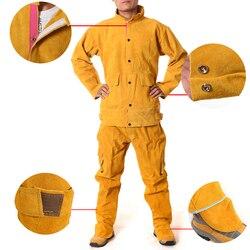 Rindsleder Elektrische Schweißen Arbeit Kleidung Spezielle Schutz Kleidung Anti Verbrühungen Leder Sicherheit Schutz Kleidung für Arbeit Wea