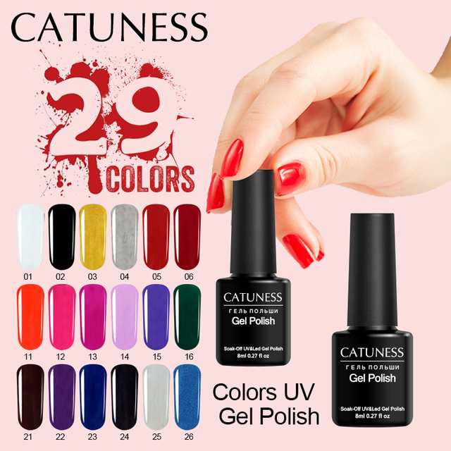 CATUNESS Lucky Newest UV LED Varnishes Design For Manicure 29Colors Glitter Nail Gel Off Soak Nail Polish Lacquer Semi Permanent