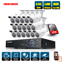 5MP 16CH Surveillance System 16 5.0MP Outdoor Security Camera 16CH CCTV DVR Kit Video Surveillance iPhone Android Remote View цена 2017