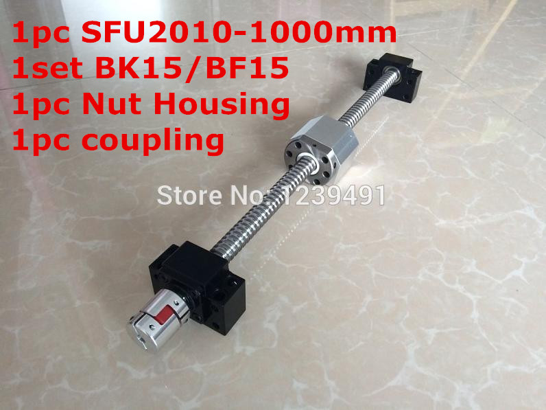 SFU2010 -1000mm Ballscrew with Ballnut + BK15/BF15 Support + 2010 nut Housing +  Coupling CNC parts sfu2010 650mm 1100mm ballscrew with bk15 bf15 standard processing bk15 bf15 support 2010 nut housing 12 10mm coupling