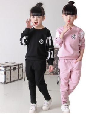 2017 Spring Kids Girl Clothes Set New Arrival Letter Zipper Sportswear Toddler Baby Clothes 3-11 Years Girls Tracksuit ZFQ002