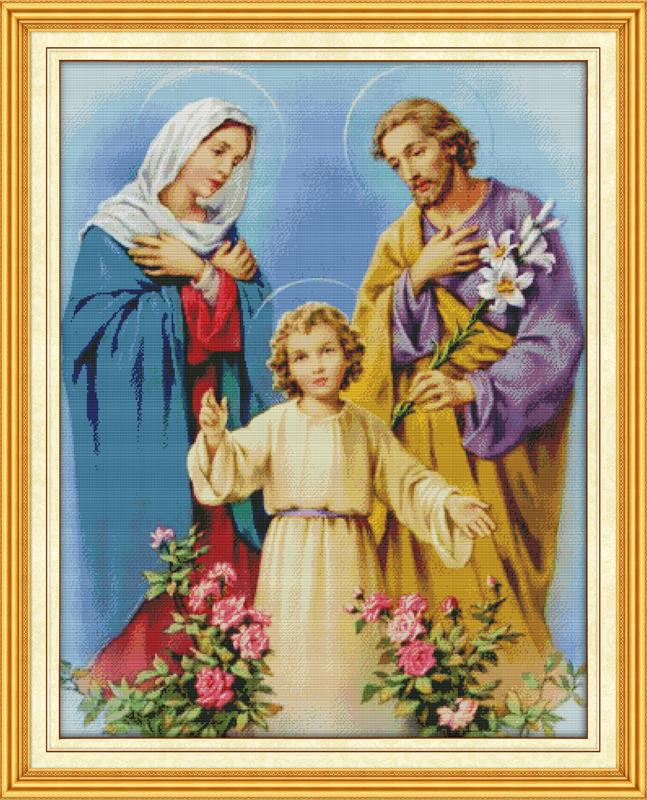 Free DIY Cross stitch 11&14CT Holy Family DMC Counted Cross Stitch Kit Kits for Ribbon Embroidery Knitting Needles Hobby Craft|counted cross stitch kits|cross stitch kits|counted cross stitch - title=