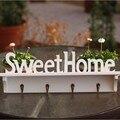 Chapéu Casaco branco Sweet Home Chave Titular 4 Ganchos de Roupa saco da Veste de Montagem Parafuso Rack de Parede Porta Do Banheiro Decoração de Casa cabide