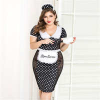 Women Sexy Babydoll Lingerie Plus Size Maid Uniform Cosplay Costume Sexy Porno Lingerie Hot Erotic Lace Babydoll Dress Role Play