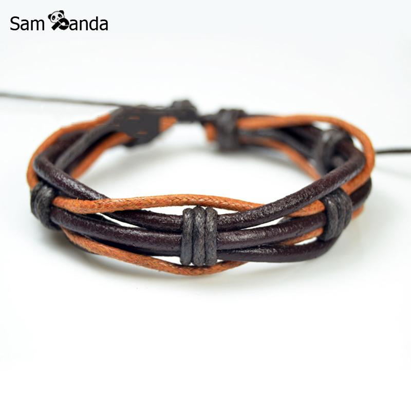 Vintage Handmade Leather Bracelet For Men Women Rope Adjustable Bracelets Bangles Pulseira Friendship Gift Drop Shopping