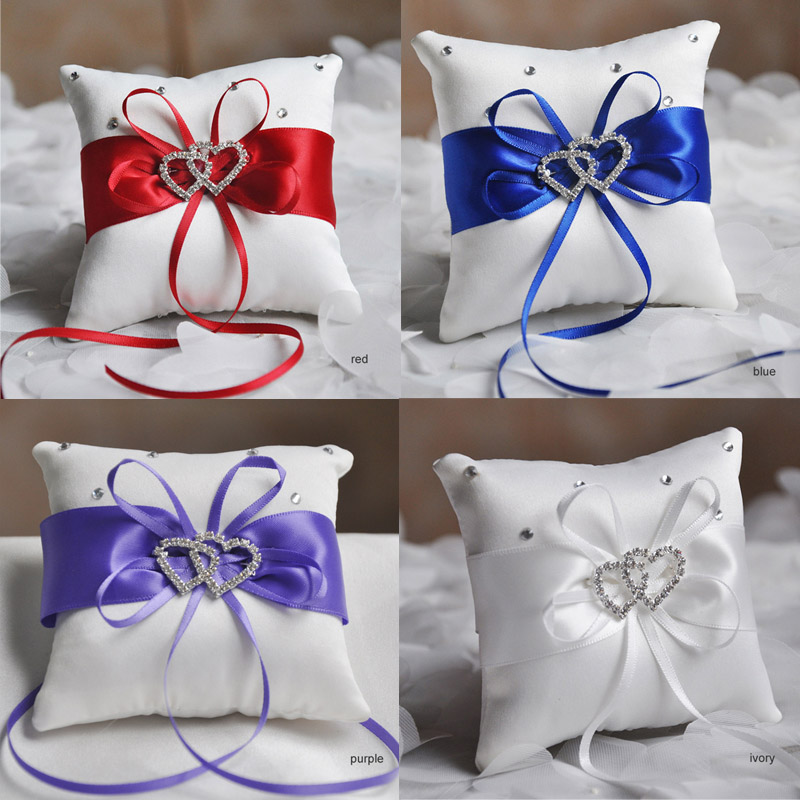Drop Shipping European Wedding Decor Ring Pillow Double Heart White Red Blue Handmade Ribbon Bowknot Rhinestone Party Supplies