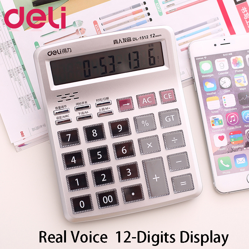 Deli Economical Crystal Button Calculator Real Human Pronunciation 12-bit Large Screen Display For Office School Gift Financial