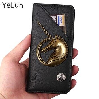 YeLun Retro Pouch For Vodafone Smart N8 Case 5.0 Cover Metal Unicorn PU Leather Flip Stand Capa Funda Back Skin Bag