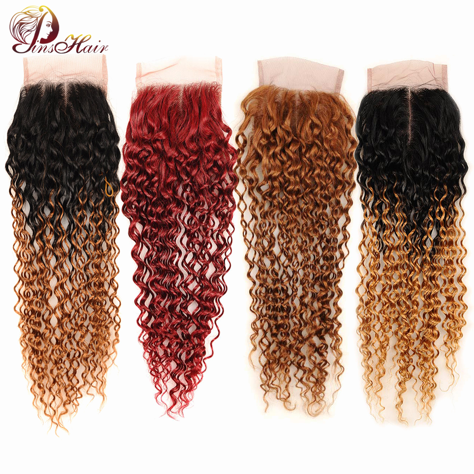 Brazilian Afro Kinky Curly Closure 4*4 Middle Part Ombre Lace Closure Human Hair Weave Pinshair Nonremy Hair Red/Burgundy/Blonde