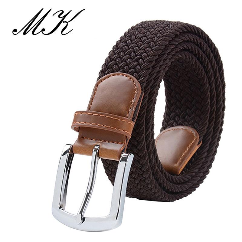 MaiKun мужские ремни с металлической пряжкой булавки эластичный мужской ремень армейский тактический ремень для мужчин - Цвет: Coffee