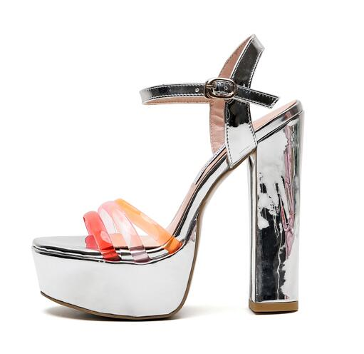 Carpaton Summer Open Toe High Heel Sandals Sexy Platform Thick heels Shoes Woman Ankle Strap Cutout Party Dress Heels Carpaton Summer Open Toe High Heel Sandals Sexy Platform Thick heels Shoes Woman Ankle Strap Cutout Party Dress Heels