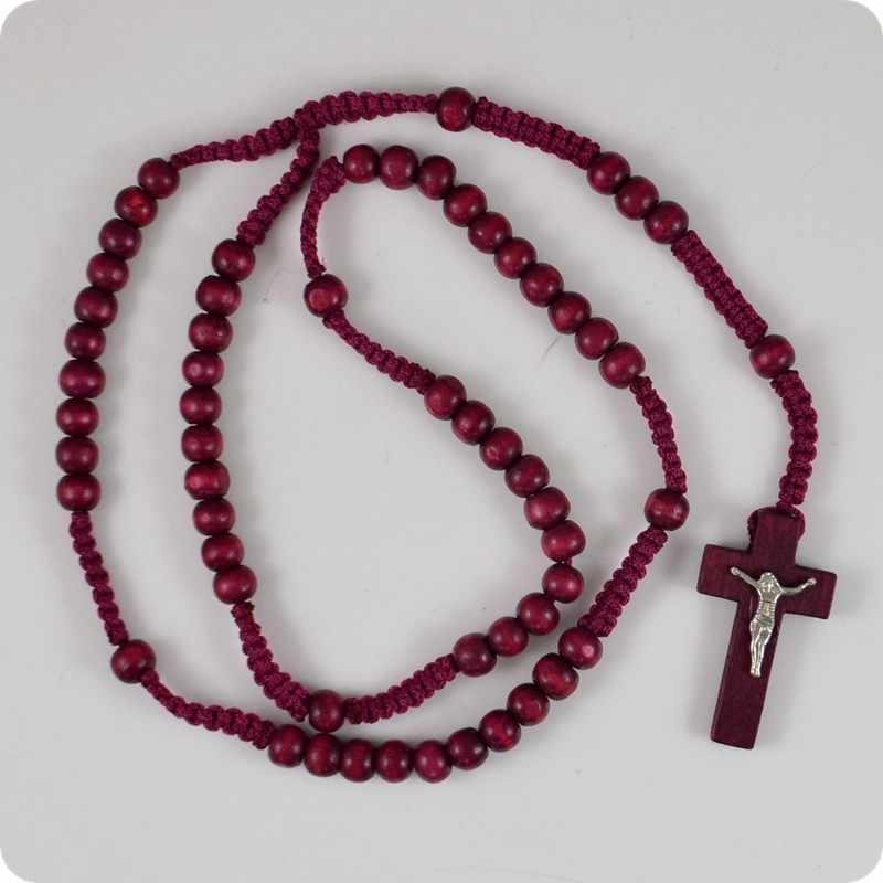 Cuentas de Rosario de madera, collar con colgante de Cruz de INRI Jesús, joyería religiosa de moda cristiana