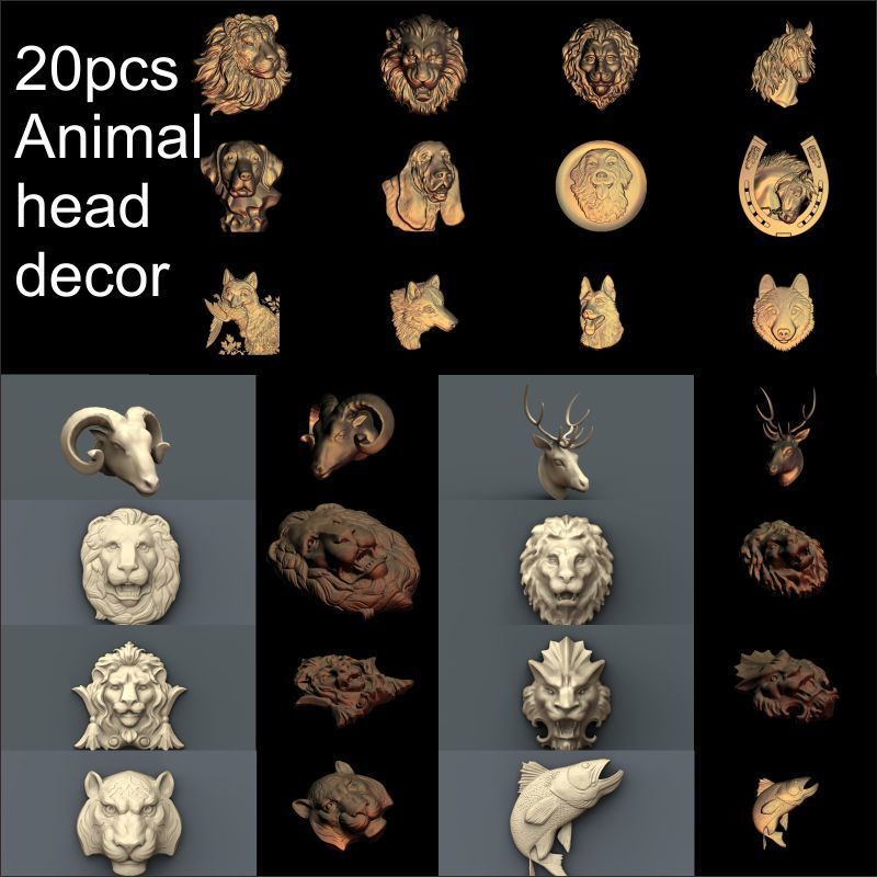 20pcs Animal Head Decoration 3d Model STL Relief For Cnc STL Format Animal Relief Model STL Router  Engraver ArtCam