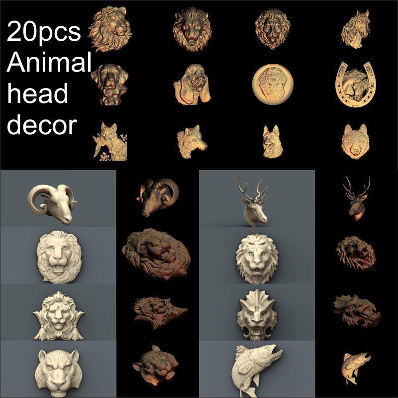 20pcs Animal Head Decoration 3d Model STL Relief For Cnc STL Format Animal Relief Model STL Router  Engraver ArtCam