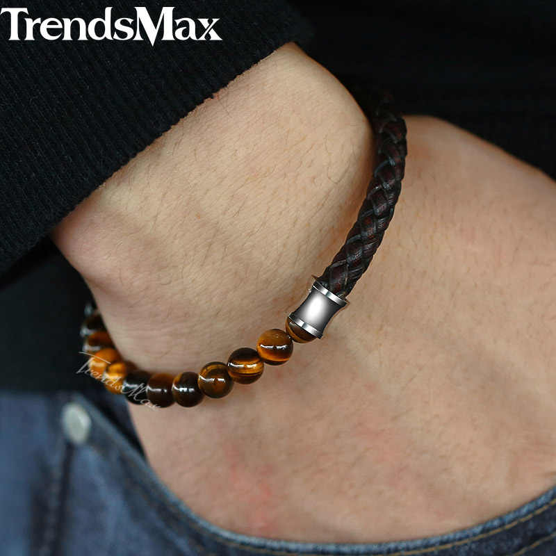 Women Men's Brown Genuine Leather Bracelets Natural Tiger Eye Stone Beaded Bracelet 2018 Male Jewelry Magnetic Clasp 6mm KDLB113