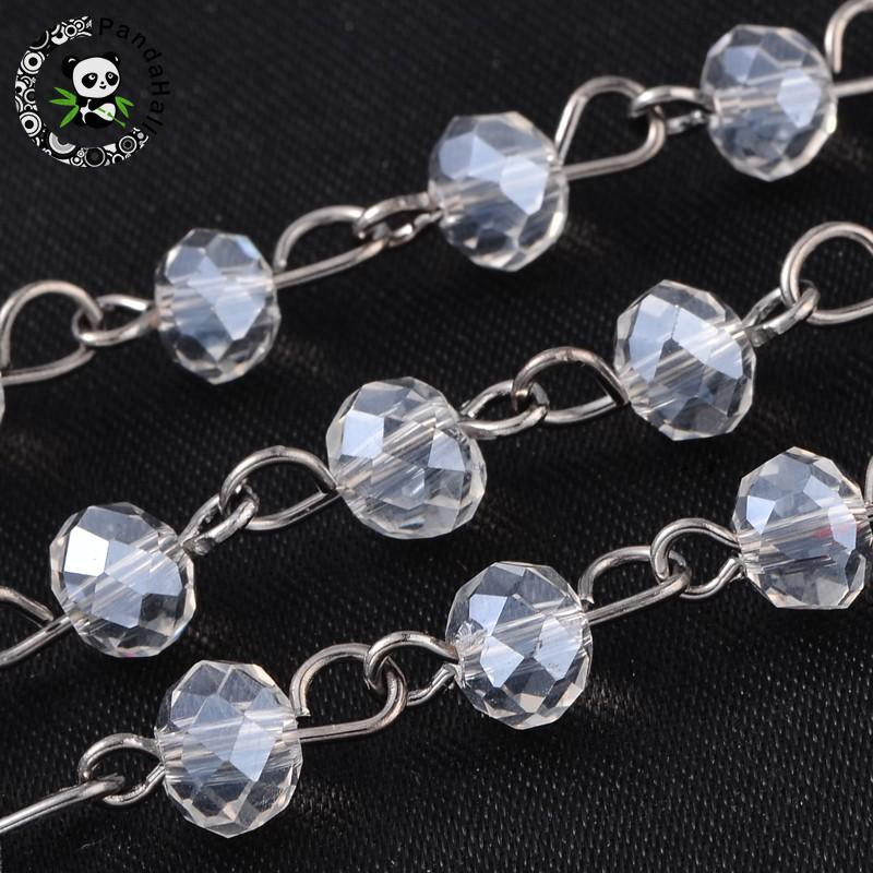 """Brass Eyepins Handmade Glass Beaded Chains for Necklaces Bracelets Making 39.3/"""""""