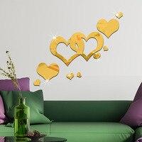 9 قطعة/المجموعة 3d الأزياء الاكريليك مرآة سطح الجدار ملصق الحب قلب تصميم للإزالة جدار الفن الديكور الذهبي فضي اللون