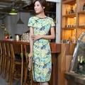 Free shipping Top Quality Cotton Linen cheongsam dress Chinese Women's Cheong-sam Leaf print Chinese Qipao dress NU581