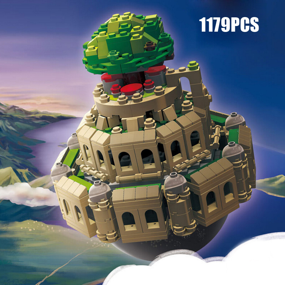 Hot Japan Anime castle in the sky animation scene MOC building block model bricks toys music box collection for children gifts seize the sky
