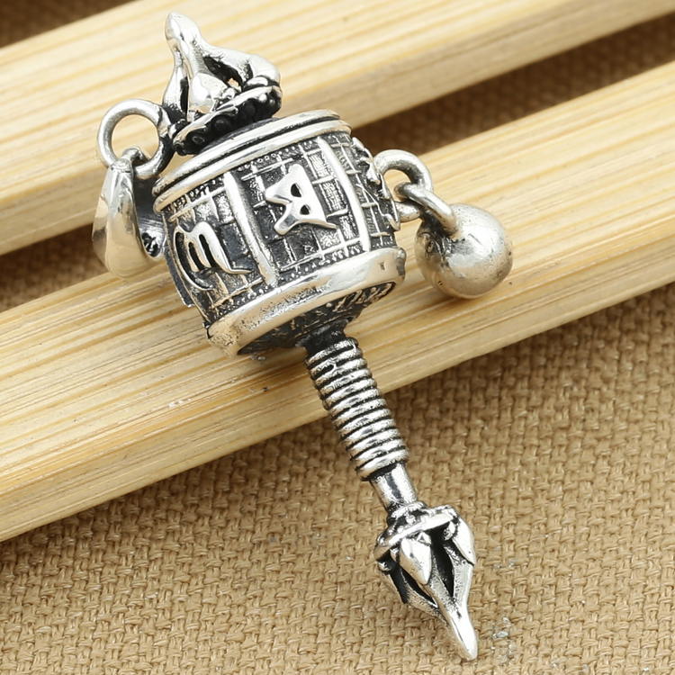 Real 925 silver tibetan prayer wheel pendant vintage sterling silver real 925 silver tibetan prayer wheel pendant vintage sterling silver tibetan wheel pendant buddhist prayer wheel pendant in pendants from jewelry mozeypictures Gallery