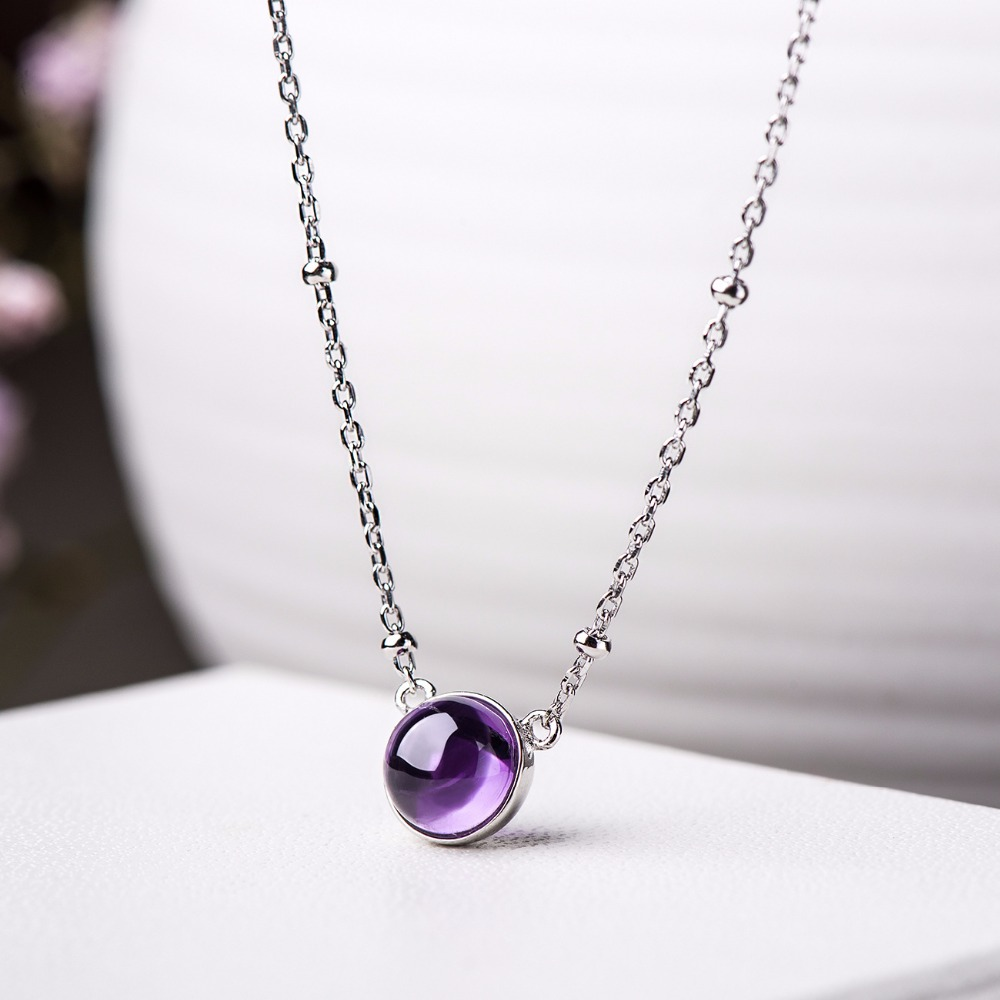 Real Amethyst Pendant Necklace For Women Simple Fashion Luxury Real 925 Sterling Silver Necklace Fine Jewelry