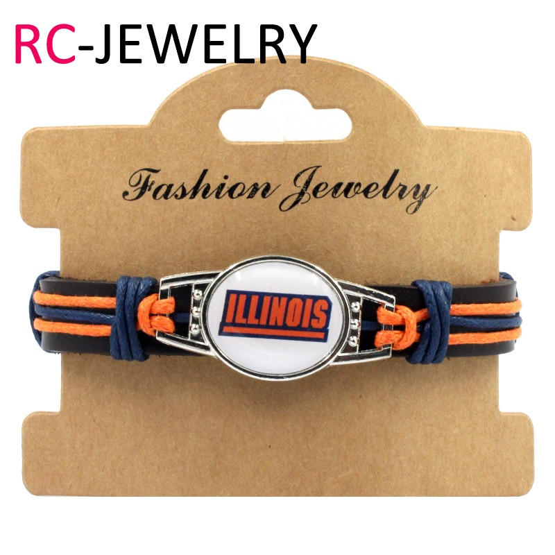 18# illinois Team Logo Charms Leather Bracelet Mens Black Leather Bracelet For Men Drop Shipping
