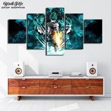 Произведение искусства, Декор настенный 5 шт. HD печати Dragon Ball Супер Гоку и Вегета плакаты, постеры на холсте стены книги по искусству для дома аксессуары