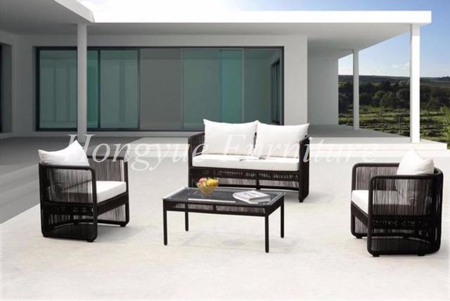 Conjunto de sofás muebles de mimbre rota del pe al aire libre negro venta