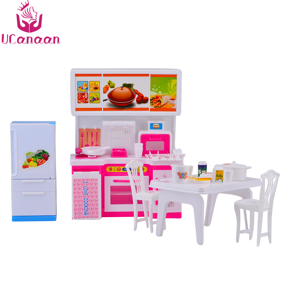 Buy barbie doll furniture kitchen set and get free shipping on ...