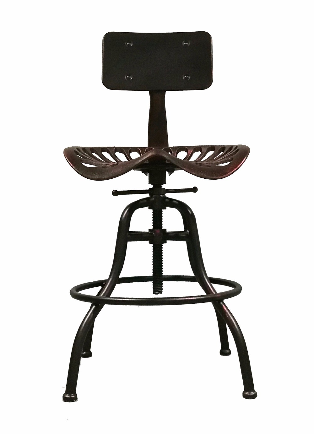 Industrial Style Furniture Height Adjustable Bar Stool Swivel Top Bar Chair Metal Kitchen Island Dining Chair Tractor Seat