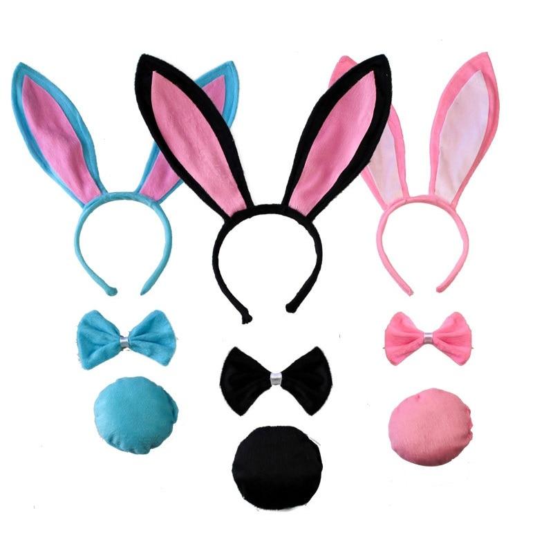 Childs Bunny Costume Kit Ears Headband Tail Bow Tie Girls Kids Rabbit White Pink