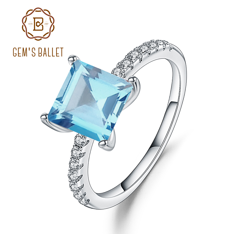 Gem's Ballet 1.49Ct Square Natural Sky Blue Topaz Gemstone Ring 925 Sterling Silver Solitaire Engagement Classic Rings For Women