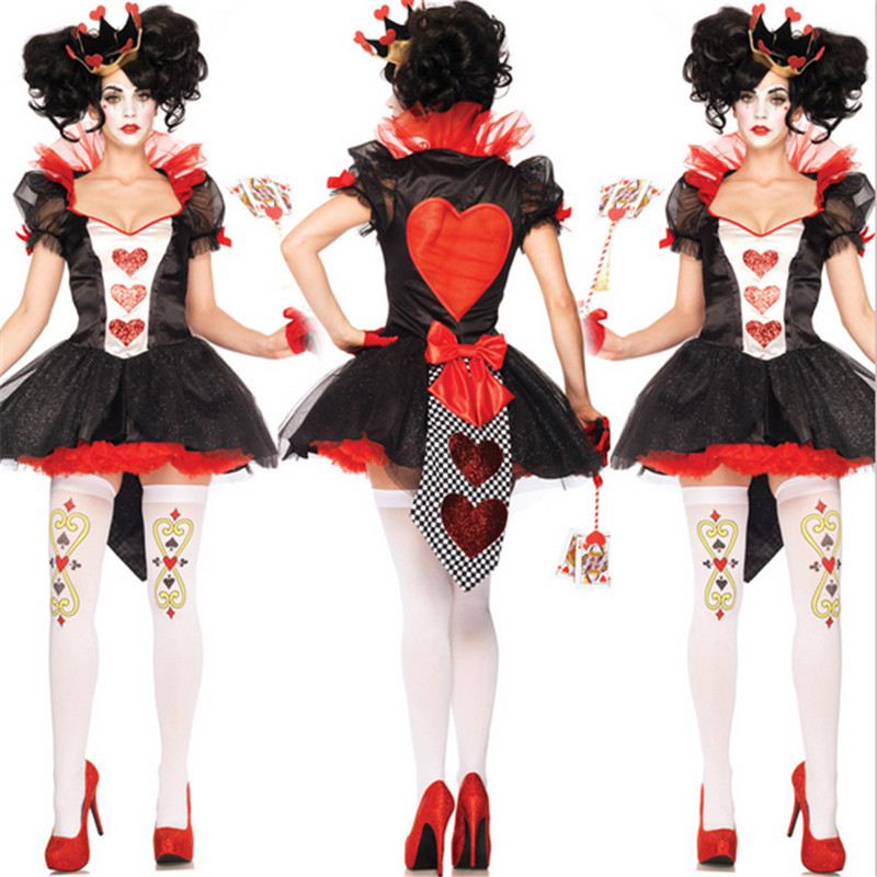 2018new high quality Sexy Queen of Hearts costume Halloween for women Casino mogul Cosplay game uniforms Carnival Party Costumes