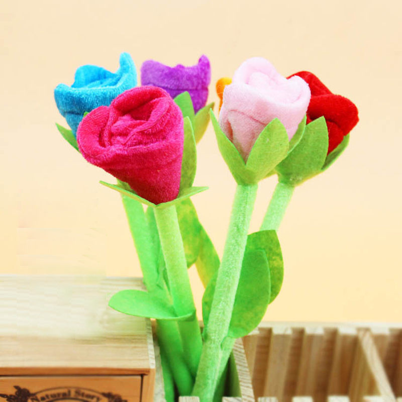 12 pcs/lot New Novelty Plush Roses Flower Ballpoint Pen Stationery Ball Pens Office School Supplies Fashion Christmas Gifts
