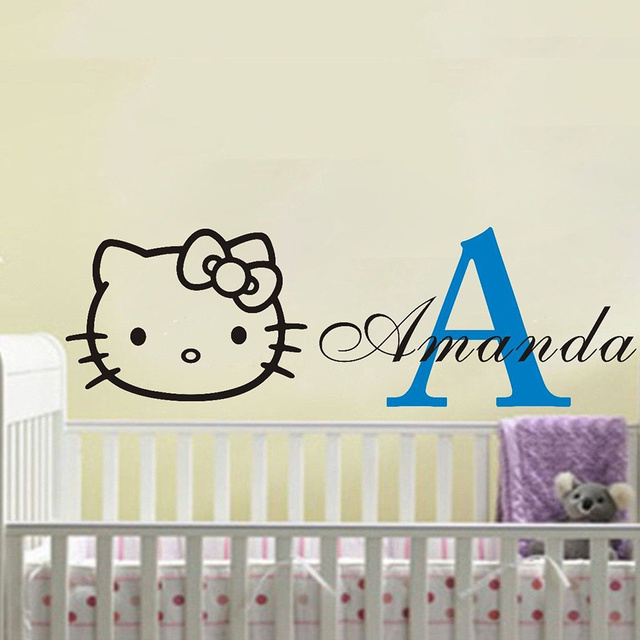 Custom Personalised Name HELLO KITTY Wall Stickers Kids Nursery Vinyl Decor  DIY Wall Decals 50X140CM Free