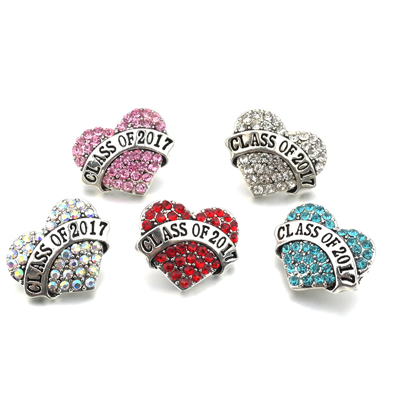 6pcs/lot Unisex 18mm crystal Heart Snap Button Jewelry For carter love Bracelet One Direction B023