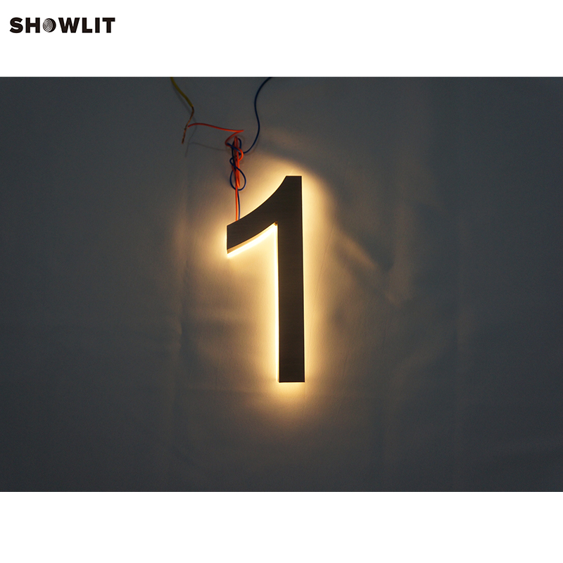 Brass Color Warm White LED Outdoor House Numbers Custom MadeBrass Color Warm White LED Outdoor House Numbers Custom Made