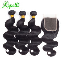Body Wave Brazilian Hair Weave Bundles With Closure 3 Body Wave Human Hair Bundles With Closure 4*4 Swiss Lace Free Part Noremy